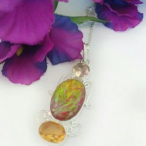 Triplet Fire Opal Sterling Silver Necklace